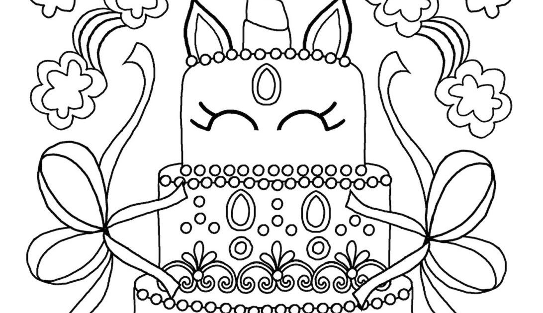 Mermaid Unicorn Cake Coloring Pages In 2020 Mermaid Coloring