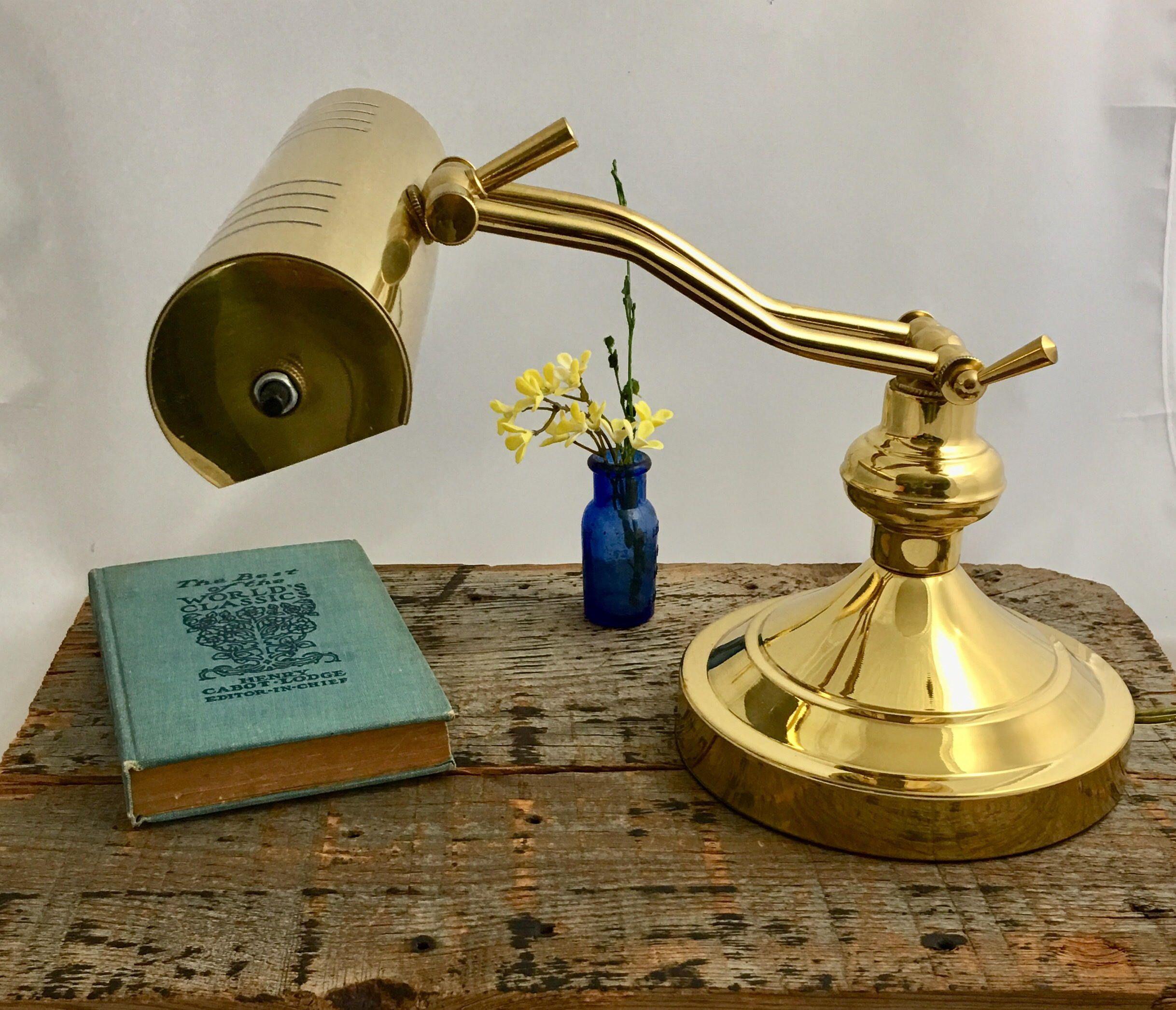 Vintage Adjustable Gold Color Desk Lamp Brass Piano Lamp