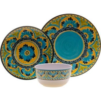 $59 Costco: Mexican Tile 18-pc Melamine Dinnerware | For Bay Head ...