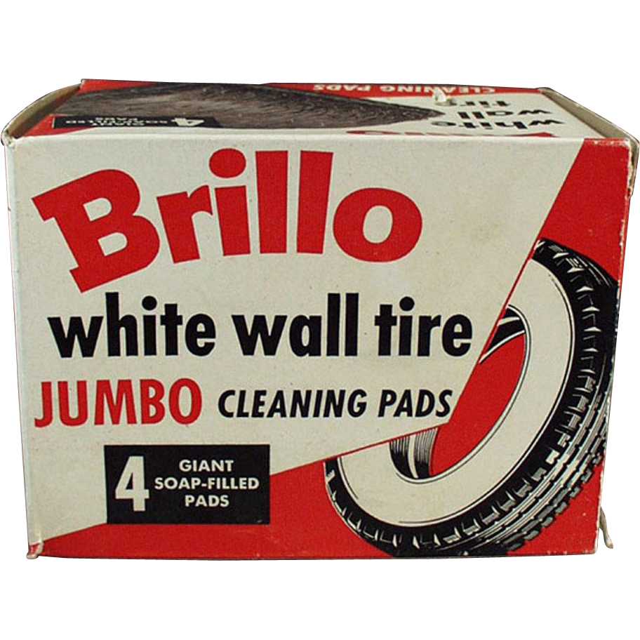 vintage brillo box white wall tire cleaning pads