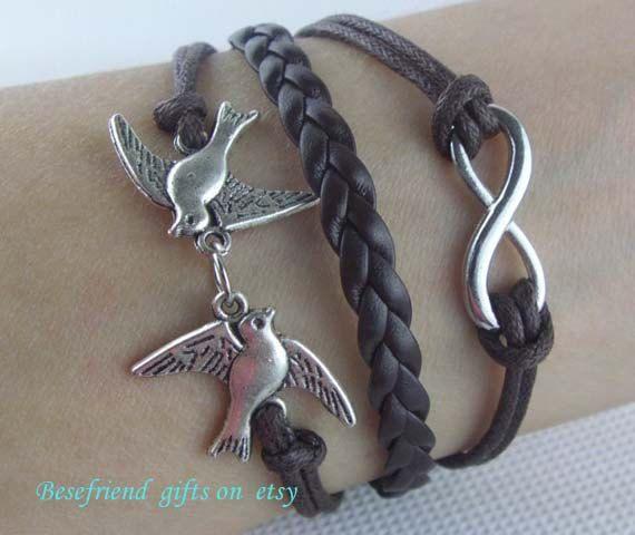 Hand woven bracelet with leather bracelet by Bestfriendgiftshop, $1.99