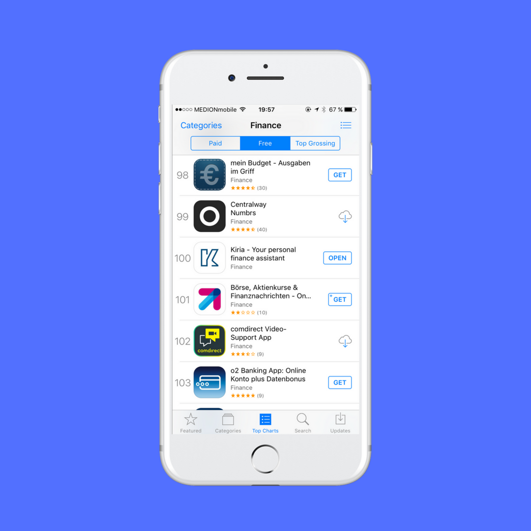 We are top 100 in Finance on the German App Store! bank