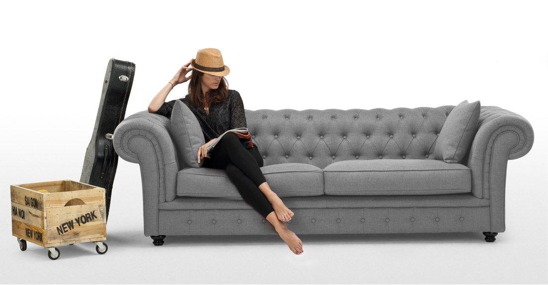 Branagh 3-Sitzer Sofa, Perlgrau - wohnzimmer couch gemutlich