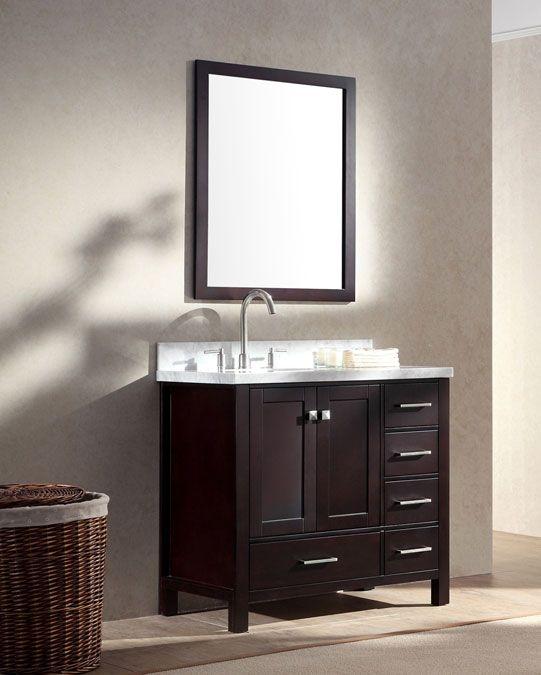 Ariel Cambridge Single 37 Inch Espresso Modern Bathroom Vanity