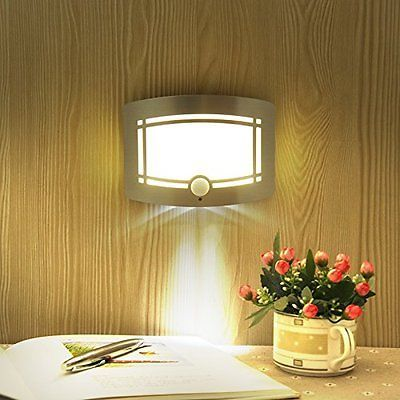 Wall Lamp Wireless Infrared Motion Sensor Battery Operated Power Led Night Home