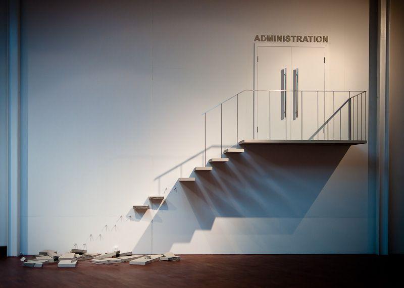 SOCIAL MOBILITY (STAIRCASE) by Michael Elmgreen & Ingar Dragset.    ARKEN museum, Copenhagen, Denmark.