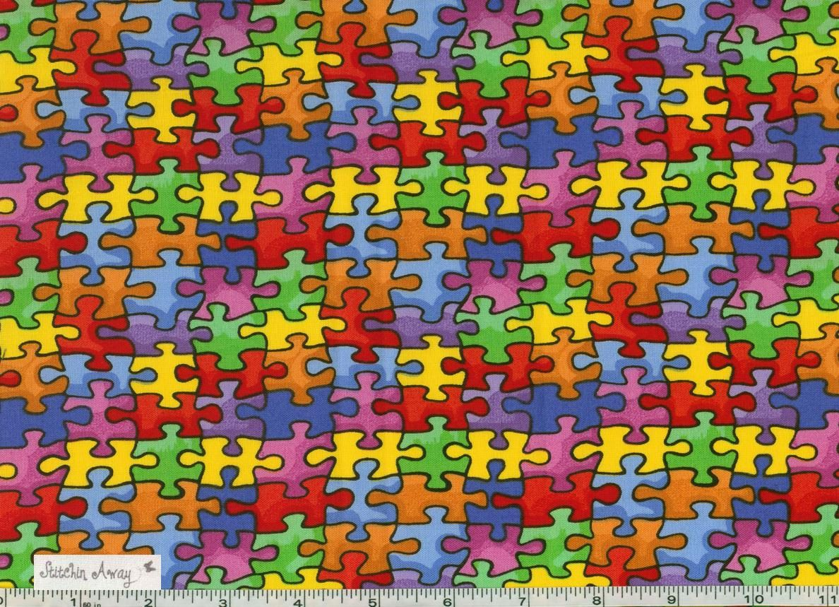 Autism Awareness Colorful Puzzle Pieces Fabric New 100