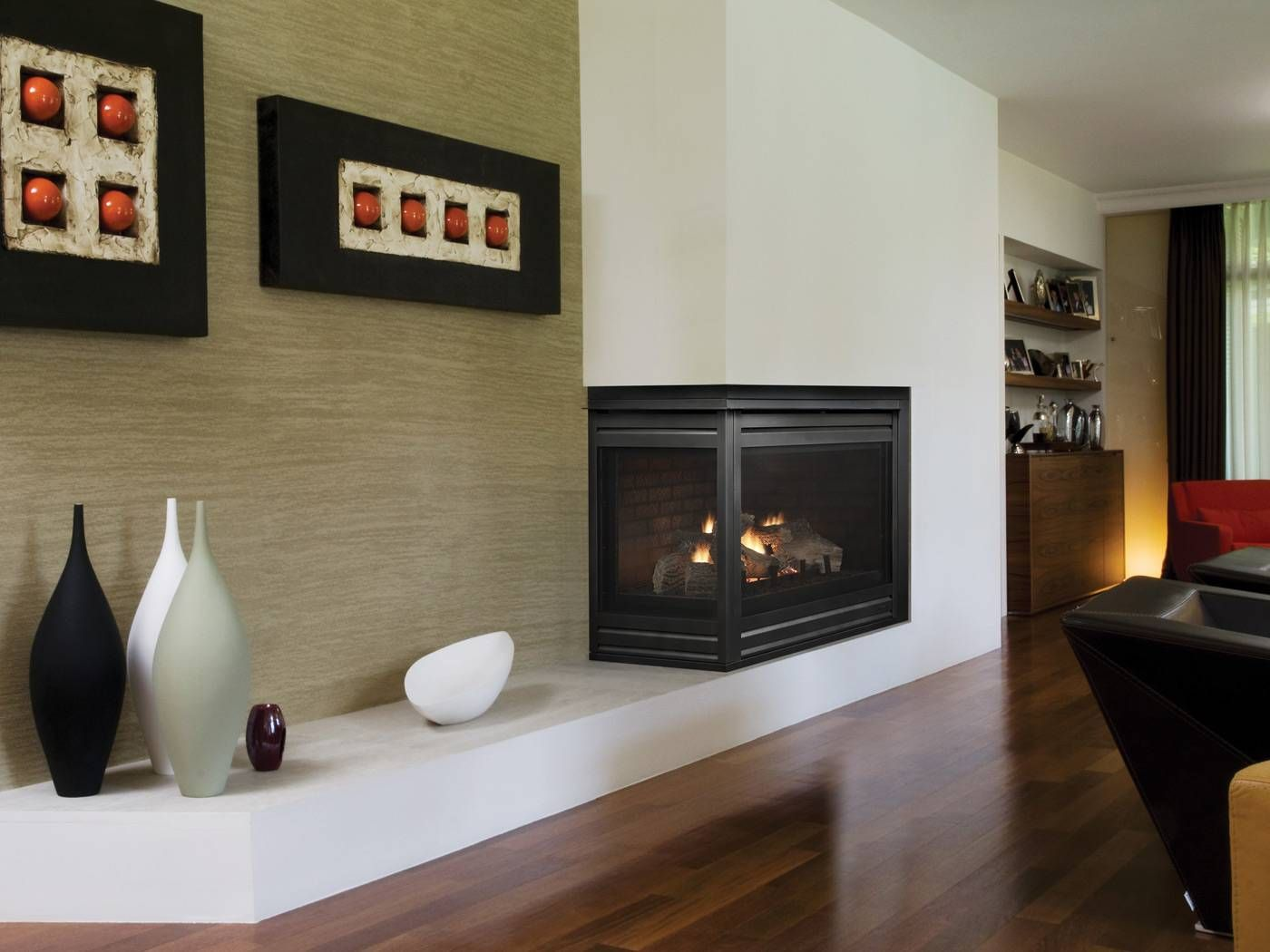 Contemporary Two Sided Gas Fireplace