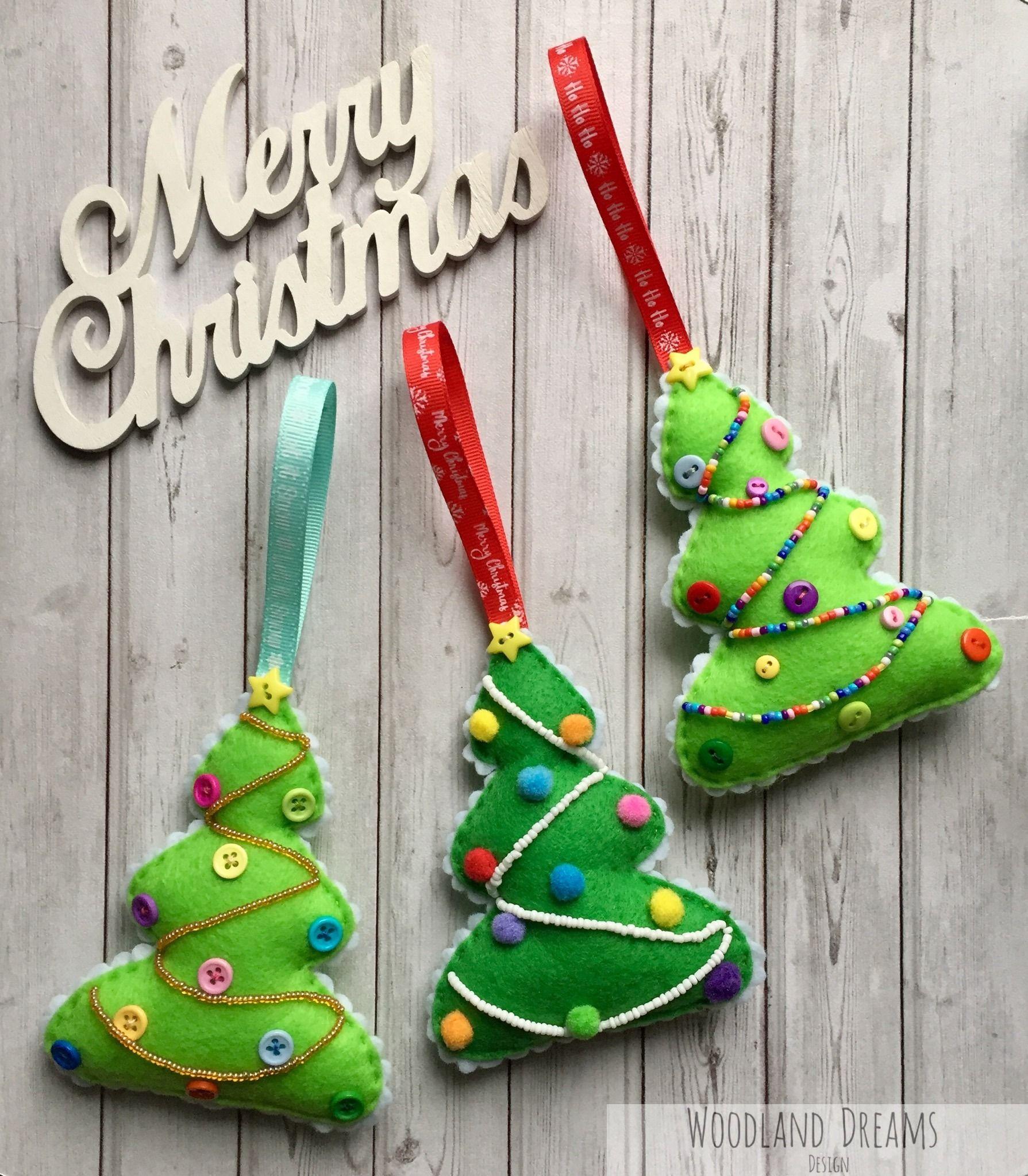 Embellished Beaded Handmade Felt Christmas Tree Ornaments Various Designs Handmade Felt Ornament Felt Christmas Tree Felt Christmas