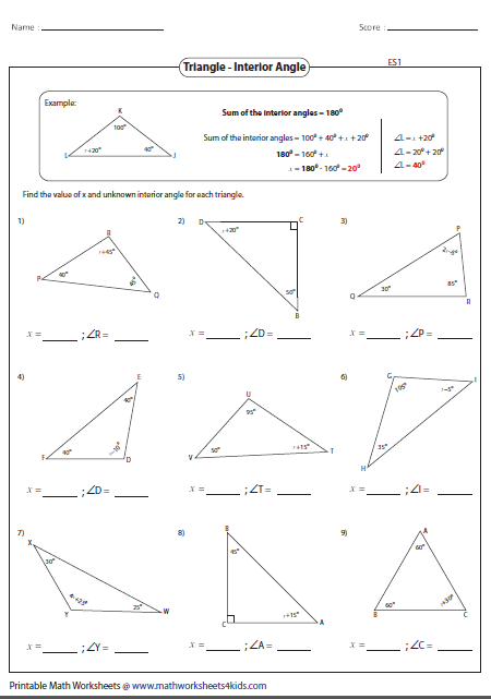 Printable worksheets contain classifying and identifying triangles based on sides and angles; area and perimeter;