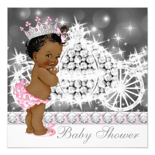 african american ethnic princess baby shower card | princess baby,