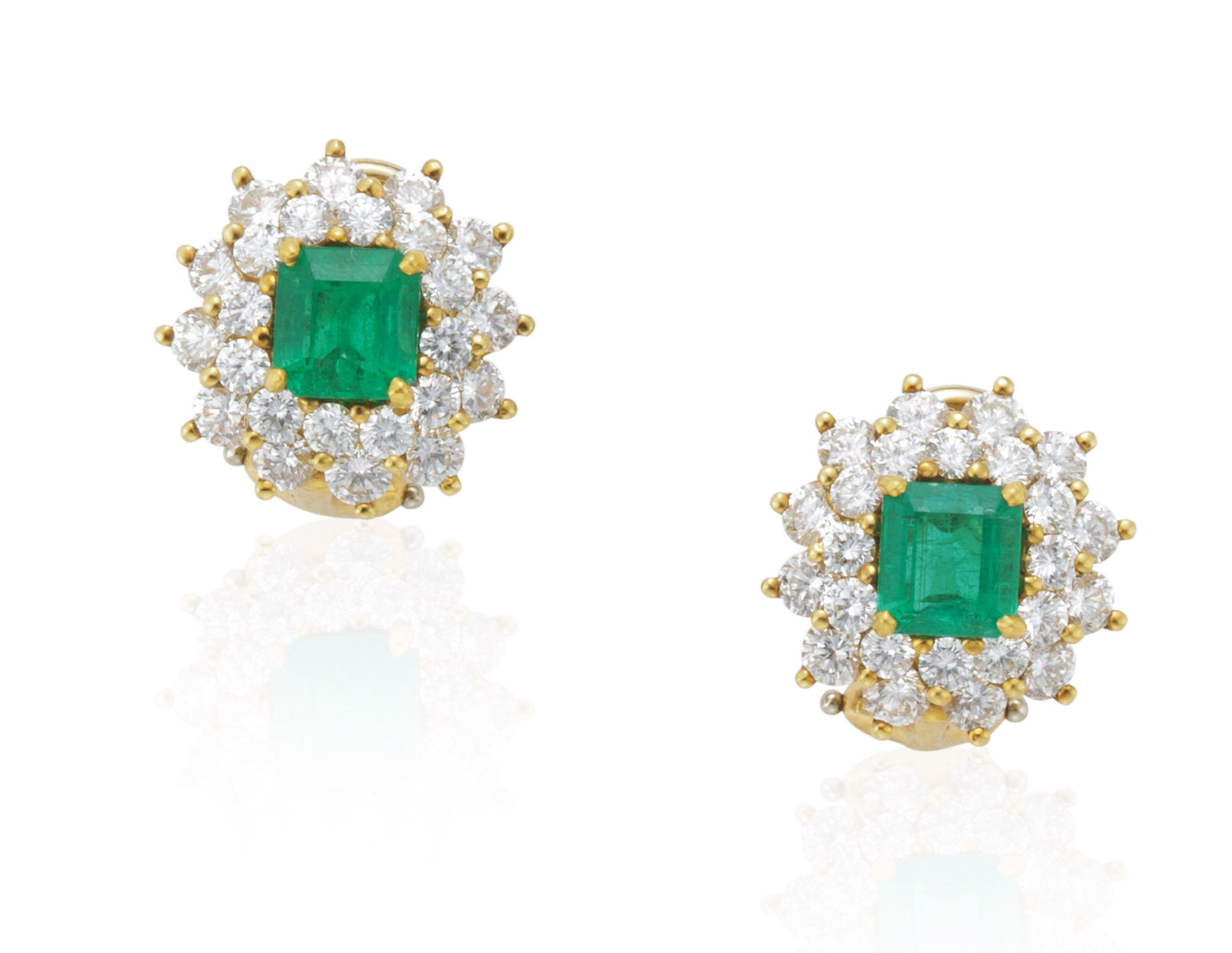 Tiffany Co Emerald And Diamond Earrings