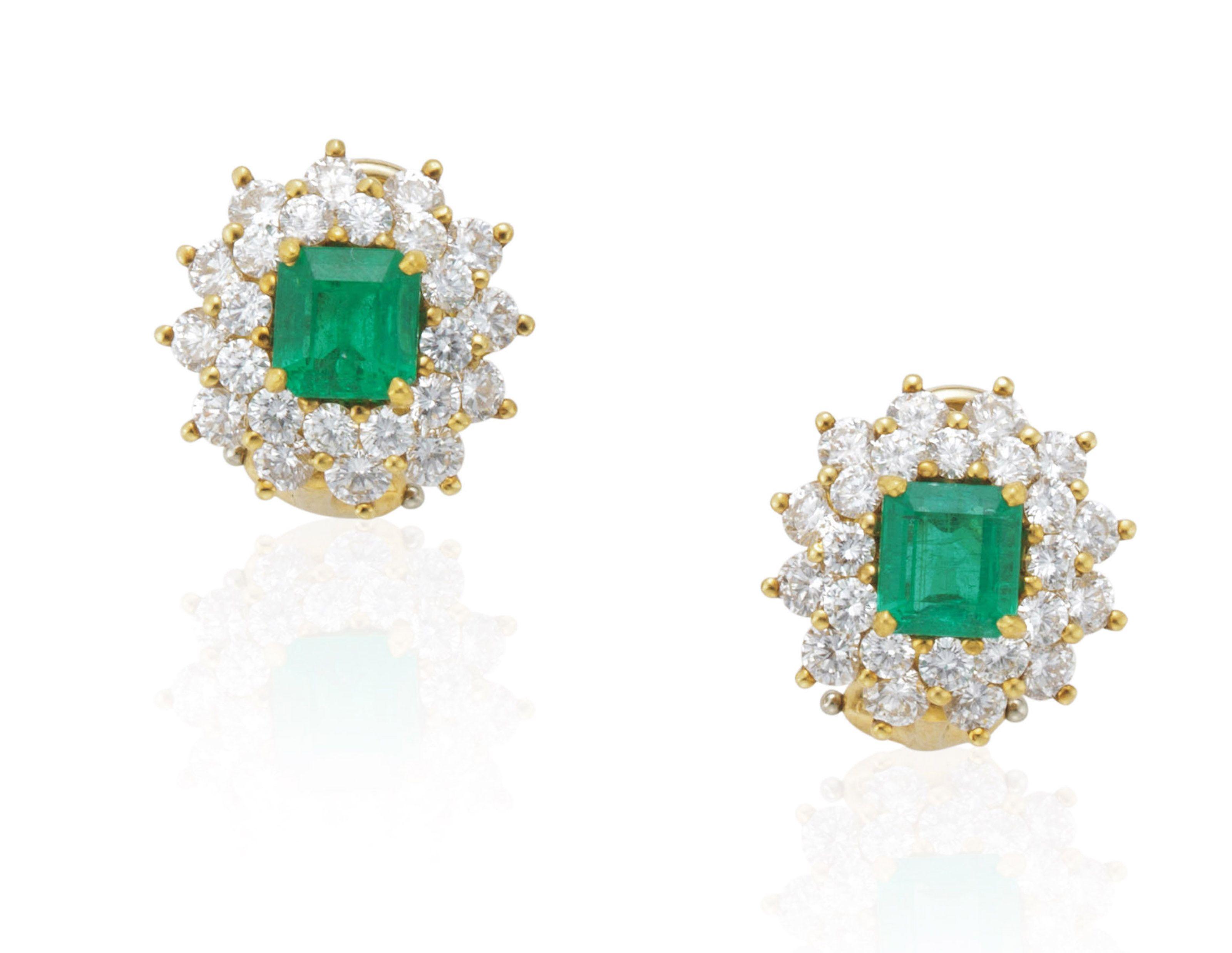 Tiffany & co emerald and diamond earrings