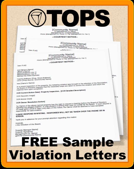 Homeowners Association Violation Letter Sample