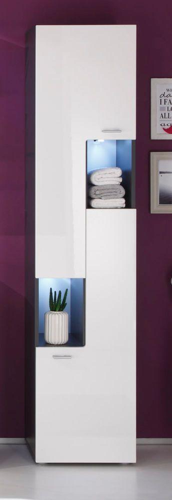 Badezimmer Hochschrank Hochglanz weiß und grau Badschrank Badmöbel