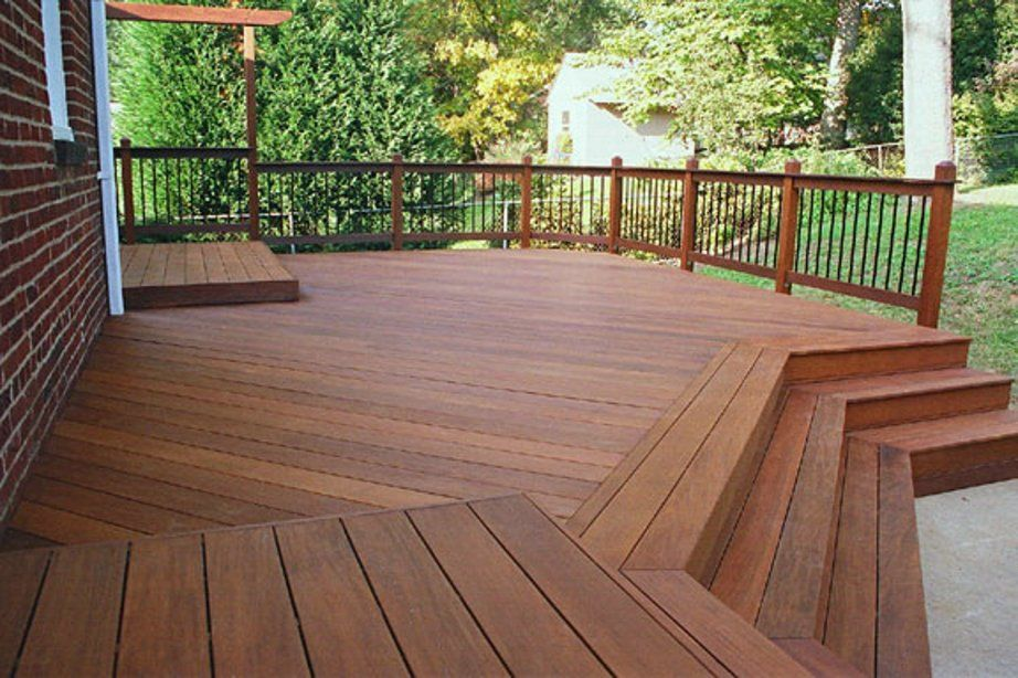 Exterior decks made of hardwoods such as ipe meranti for Hardwood outdoor decking