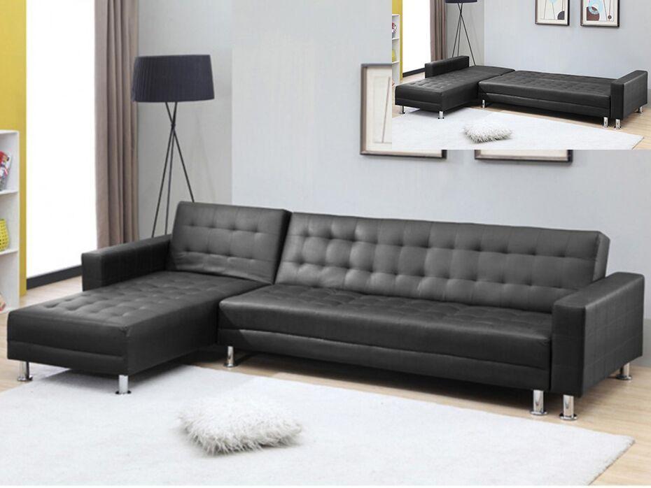 Sofá cama rinconero WILLIS - Ángulo reversible - Piel sintética - Negro