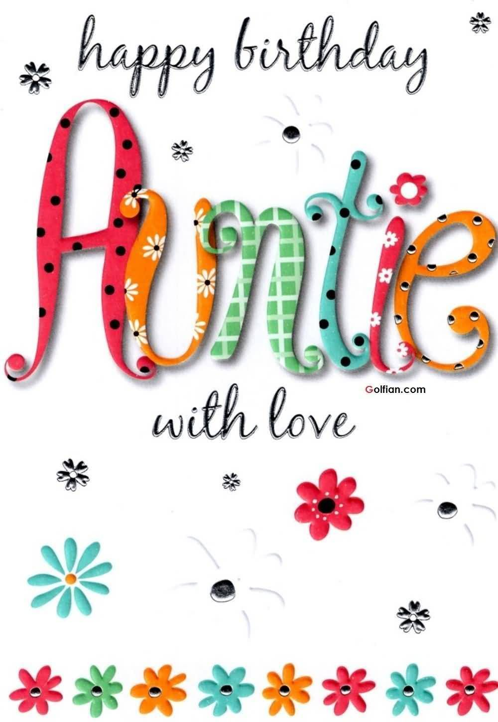 Happy Birthday Auntie With Love Birthday Cards Pinterest