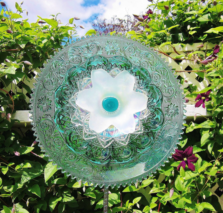 Glass yard art  Teal Garden Art Plate Glass Flower Yard Suncatcher UpCycled