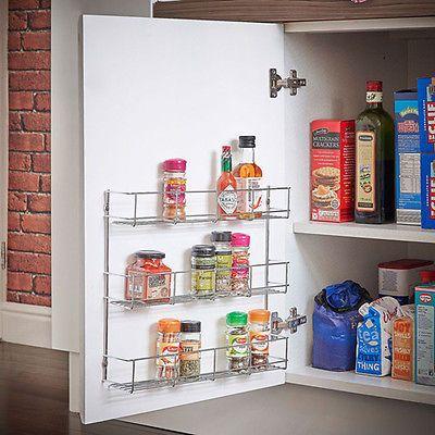 1-6 Tier Spice Rack for Wall Kitchen Door Cupboard Storage Jar Herb Holder UK & 1-6 Tier Spice Rack for Wall Kitchen Door Cupboard Storage Jar ...