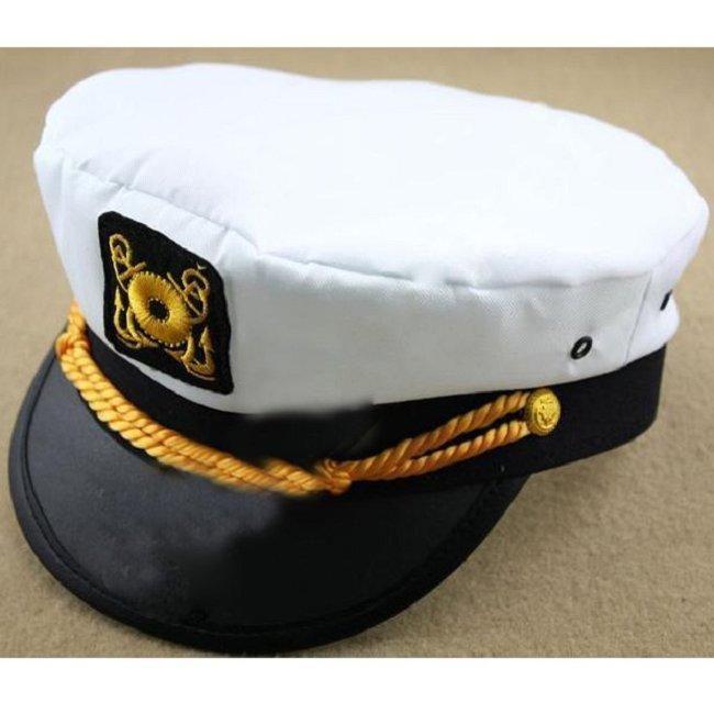 d7d8f2cdb8b22 Men   Women White Yacht Captain Skipper Sailor Boat Cap Hat Costume Perform  Prop  Unbranded