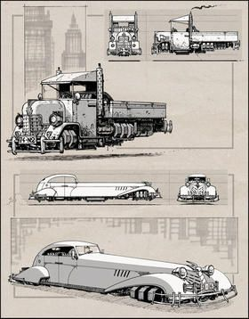 Cool dieselpunk artwork. I like the truck. Anti-gravity  ... might be a neat project. ✤ || CHARACTER DESIGN REFERENCES | キャラクターデザイン |  • Find more at https://www.facebook.com/CharacterDesignReferences & http://www.pinterest.com/characterdesigh and learn how to draw: concept art, bandes dessinées, dessin animé, çizgi film #animation #banda #desenhada #toons #manga #BD #historieta #anime #cartoni #animati #comics #cartoon from the art of Disney, Pixar, Studio Ghibli and more || ✤
