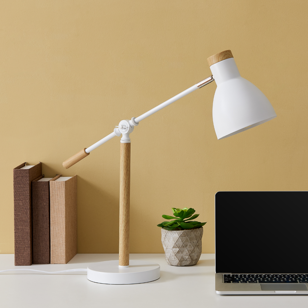 Pecard Adjustable White Desk Lamp With Wood Accents Walmart Com In 2020 White Desk Lamps Small Desk Lamp Adjustable Desk Lamps