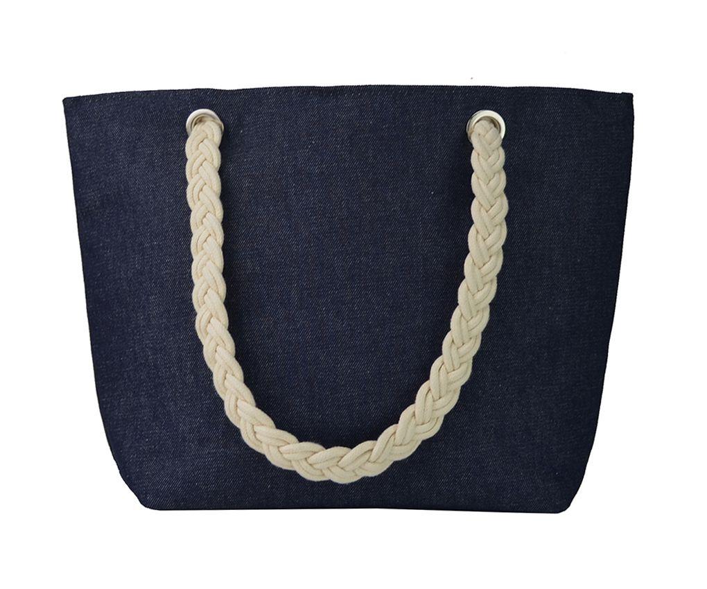245147c1c Bolsa Jeans, modelo sacola com ilhós e alça de corda em algodão cru.  Conhecida