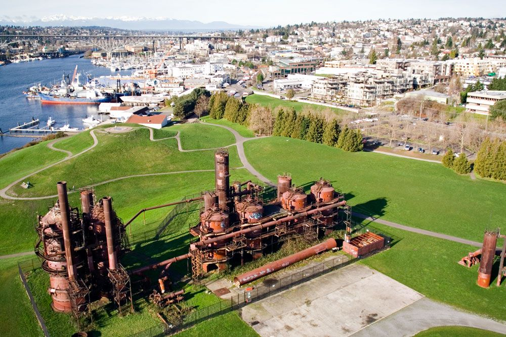 Gas Works Park on the north end of Lake Union