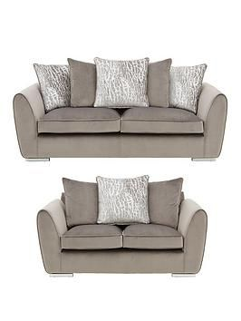 Aspire Fabric 3 Seater 2 Seater Scatter Back Sofa Set Buy And Save In Grey Silver Sofa Set Sofa Cushion Filling