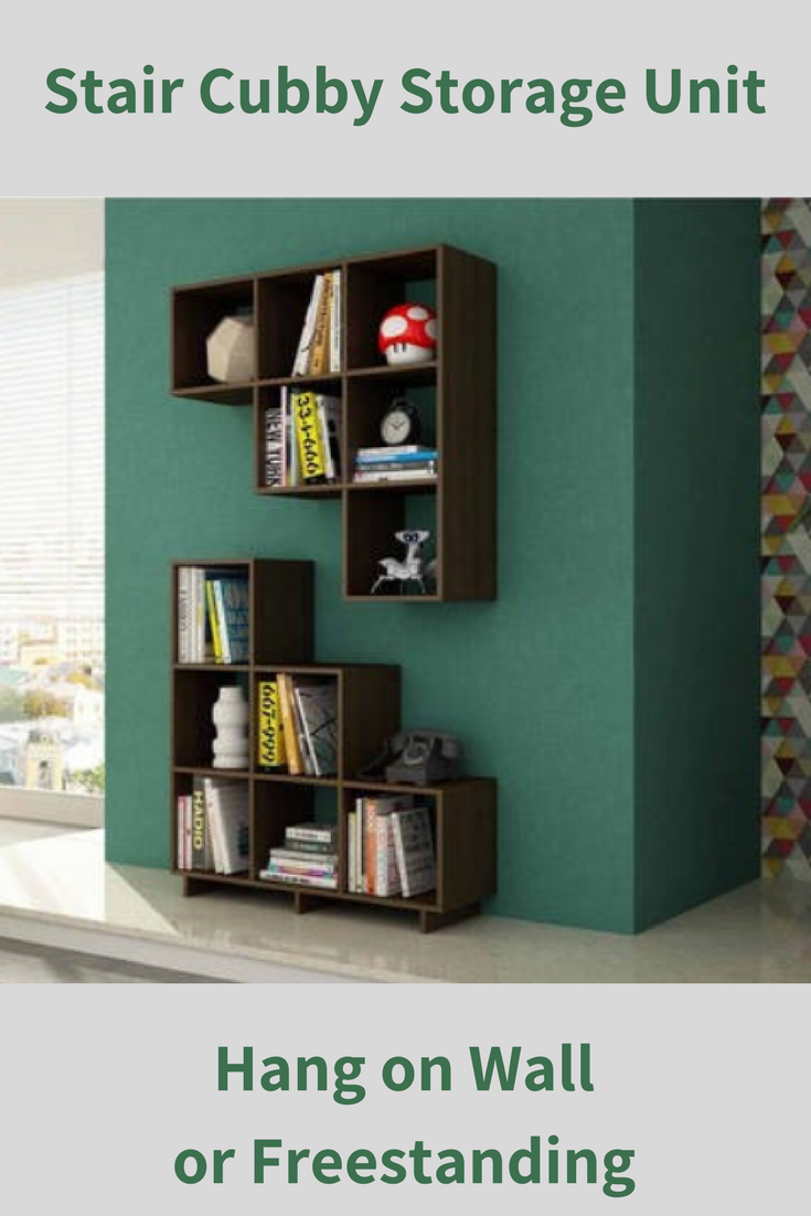 Ikea Kallax Or Trofast Storage System Can T Do This This Six Stair Cubby Storage Unit Comes With The Option Of Hanging Bookcase Cube Bookcase Bookshelf Decor