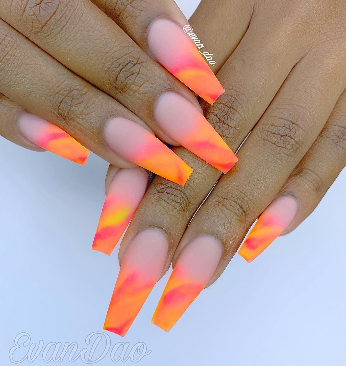 40 Beautiful Coffin Nail Designs 2020 In 2020 Orange Ombre Nails Coffin Nails Designs Orange Nail Designs