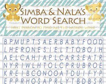 Instant Download Boy Wordsearch Lion King Baby Shower Game