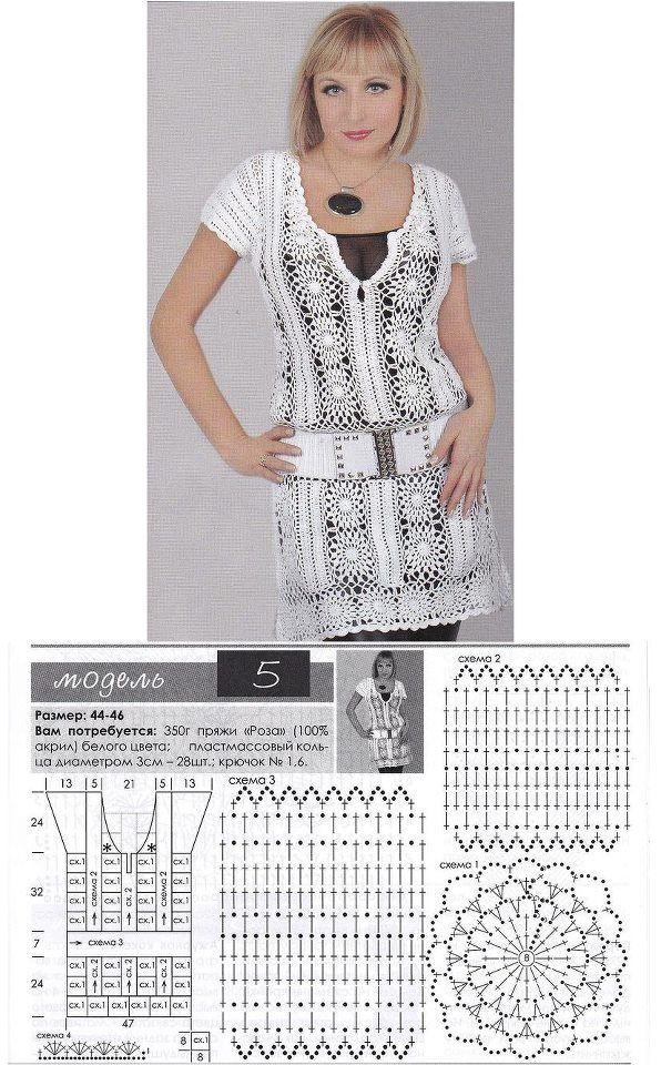 Patrones de Crochet | White Crochet blouses,vest,tunica | Pinterest ...