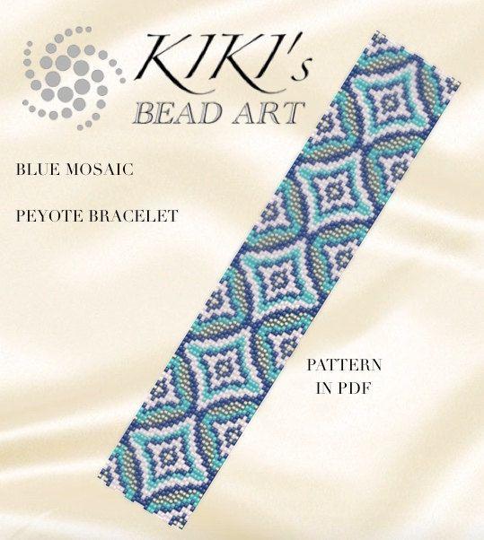 Pattern peyote bracelet Blue mosaic peyote by KikisBeadArts