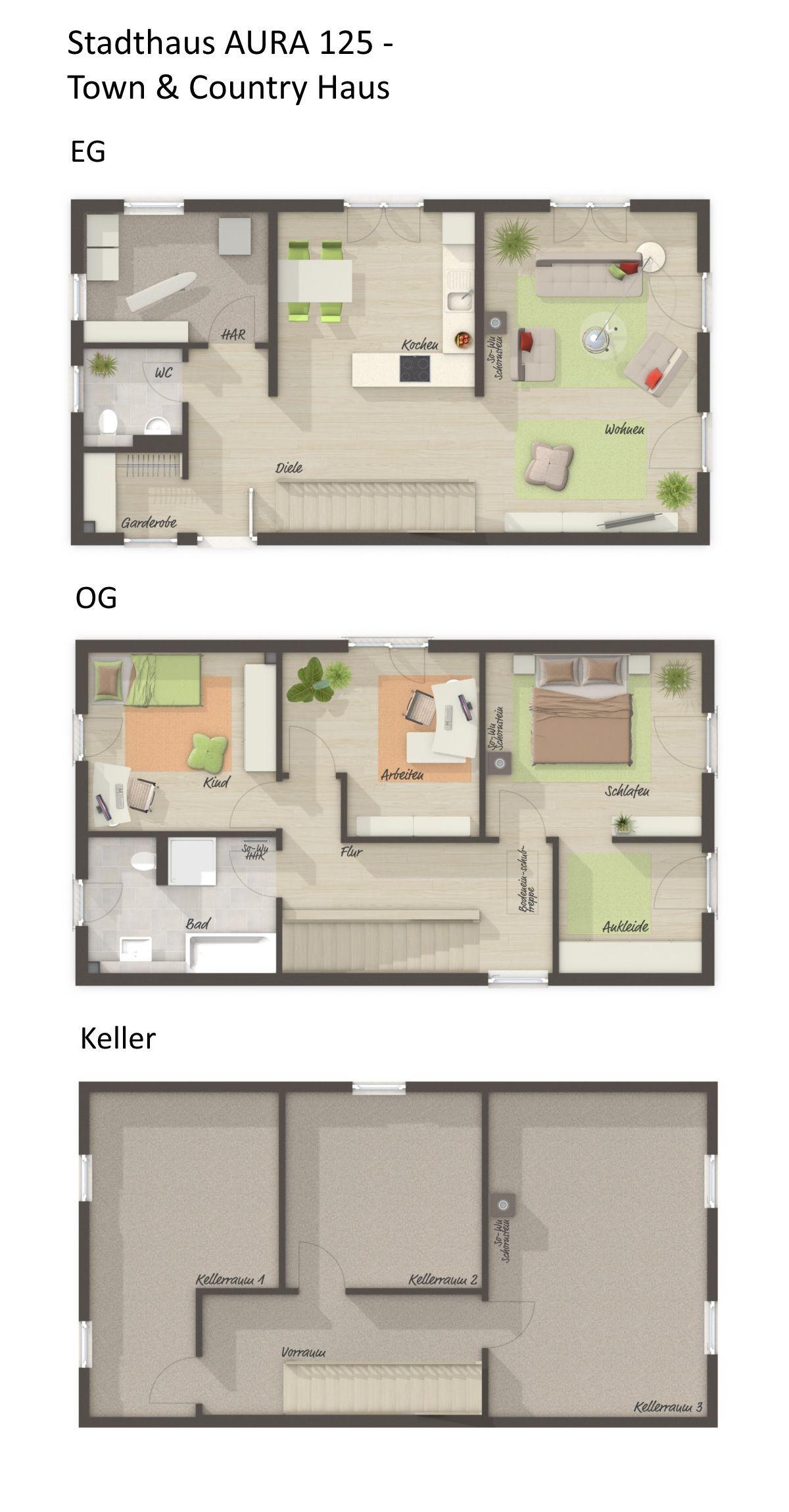 Grundriss Einfamilienhaus schmal & Gerade Treppe 4