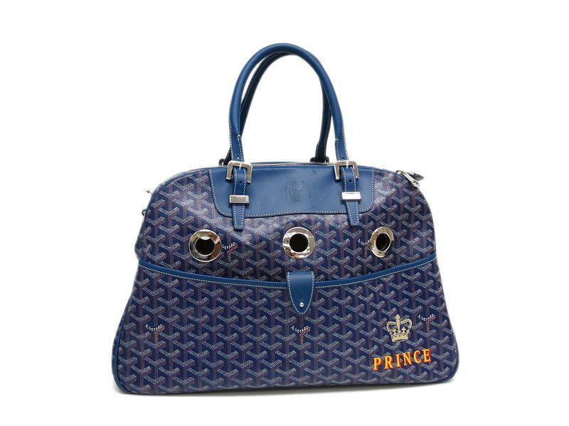 #Goyard Sac Cyan Yuro PM #DogCarry Boston bag Canvas/Leather Blue (BF056568)