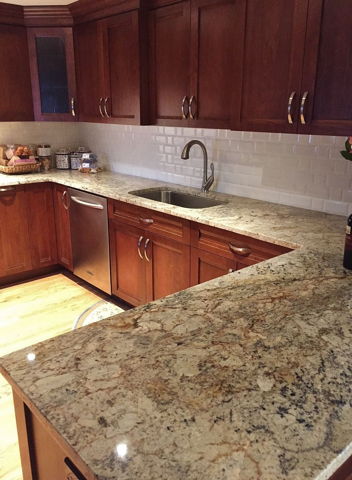 typhoon bordeaux granite countertops are the focal point of this rh pinterest com kitchen cabinets near cherry hill nj kitchen cabinet hardware cherry hill nj