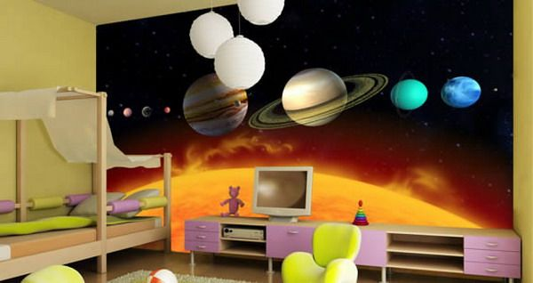 contemporary boys bedroom space wall murals design ideas kids