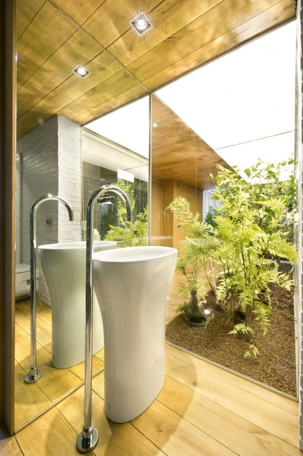 Industrial Home with Interior Planting and Transparent Walls ...