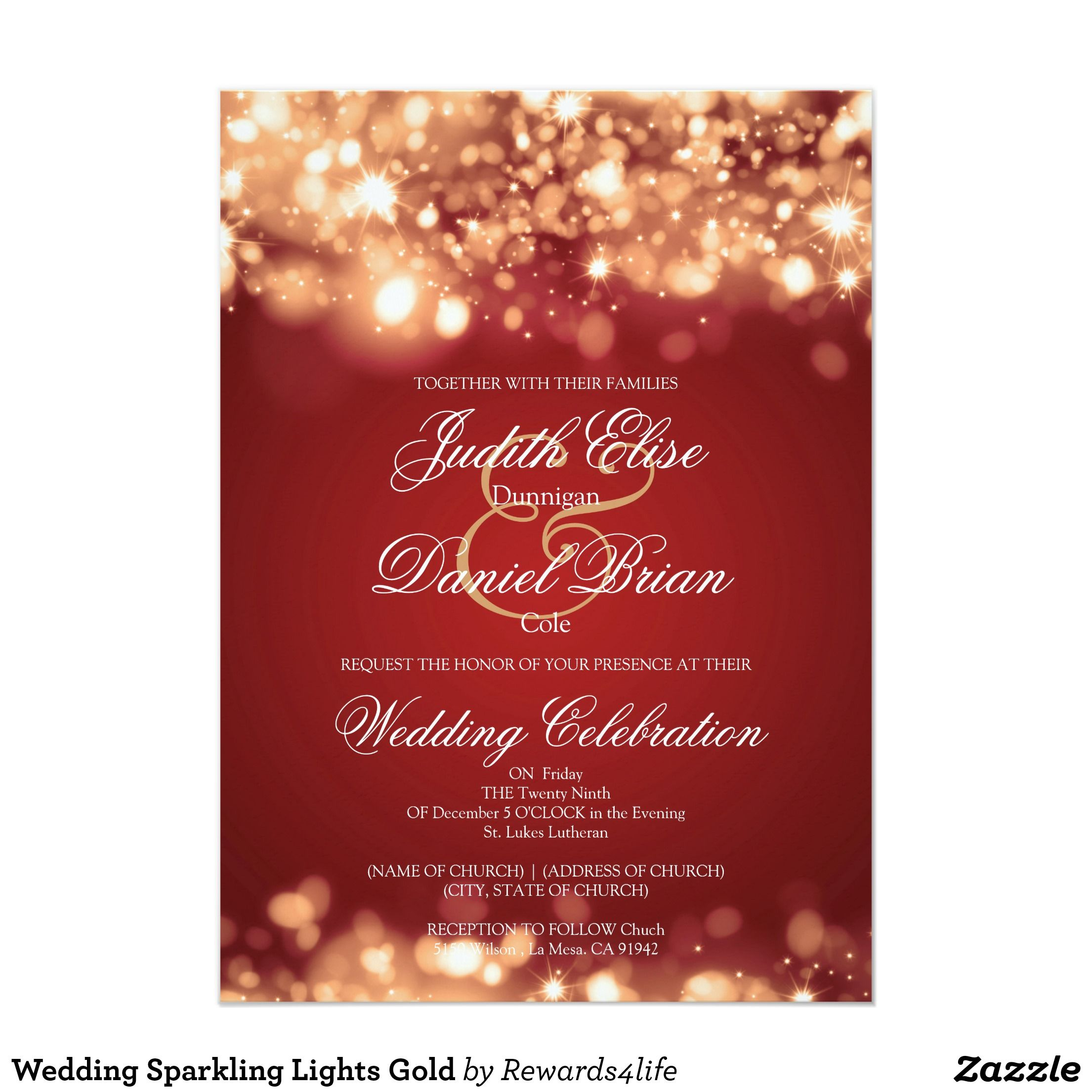 Wedding Sparkling Lights Gold Card | Christmas wedding, Wedding and ...