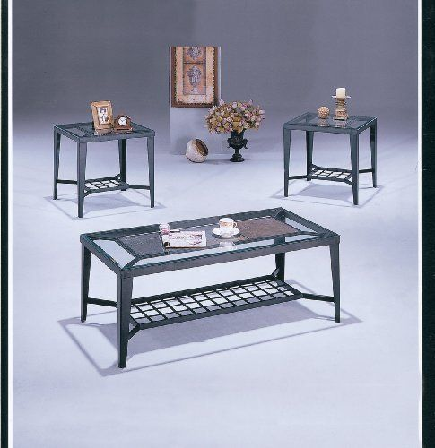 Acme 08235 3 Piece Modena Stone Top With Glass Coffee End Table