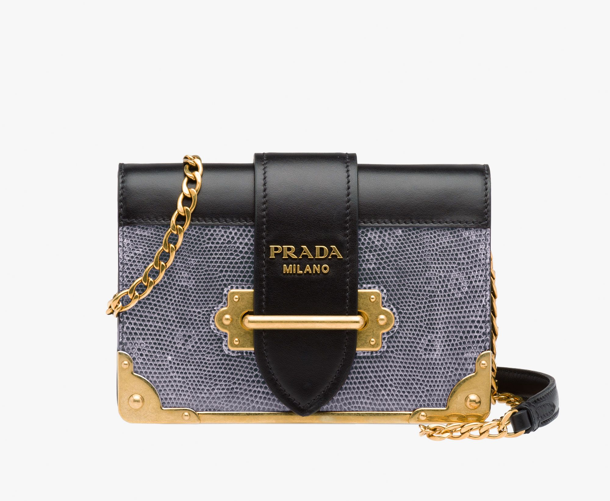 Prada Cahier lizard and calf leather bag Detachable metal chain ...