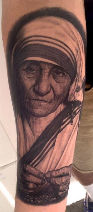 Mother Teresa by Pepper at Family First Tattoo | Tatuaggi