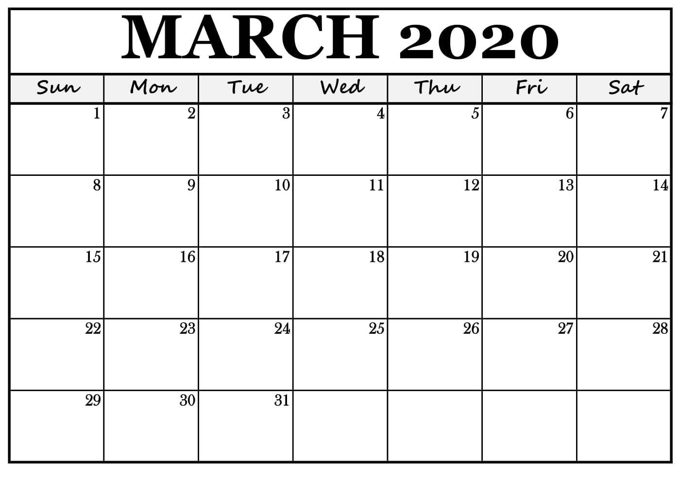 Editable Mar 2020 Calendar Pdf Word Excel Printable Template With