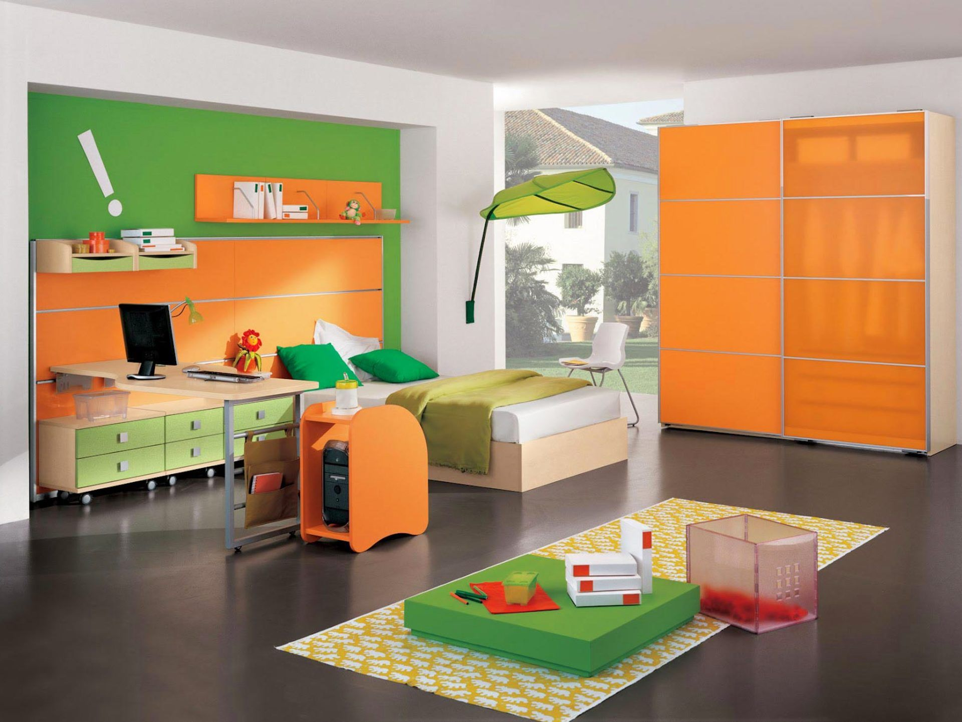 Cheerful Orange And Green Boys Themed Bedroom Ideas With Orange ...