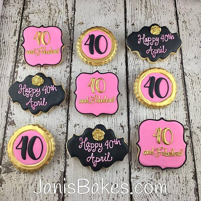 Birthdays 40th Birthday Cookies Pink Black
