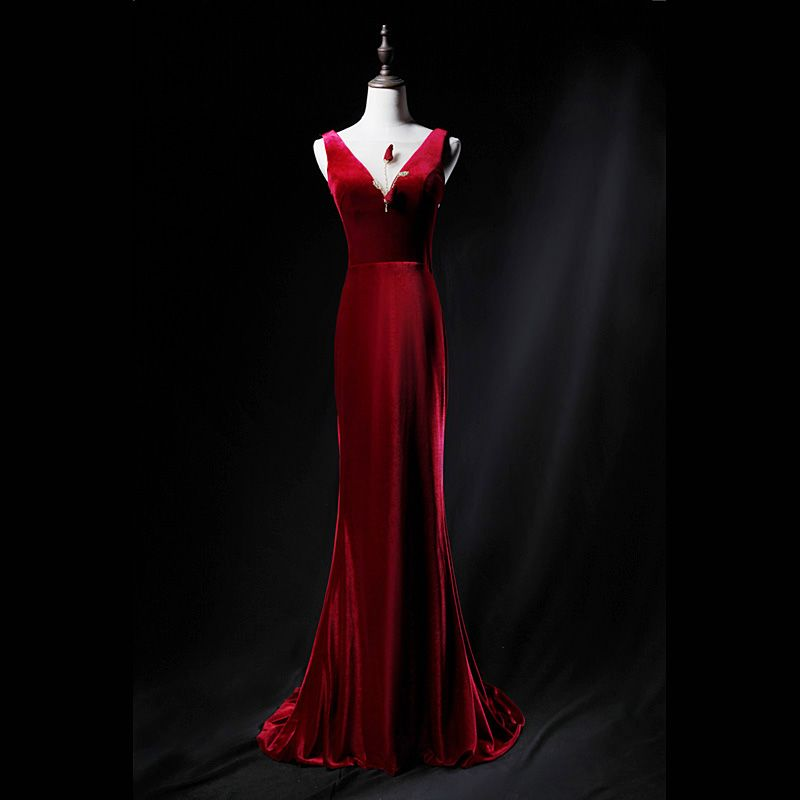 Classic Burgundy Evening Dresses 2019 Trumpet / Mermaid