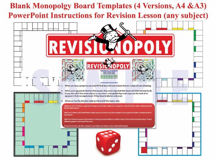 Revisionopoly Monopoly Style Board Game Templates With Ppt