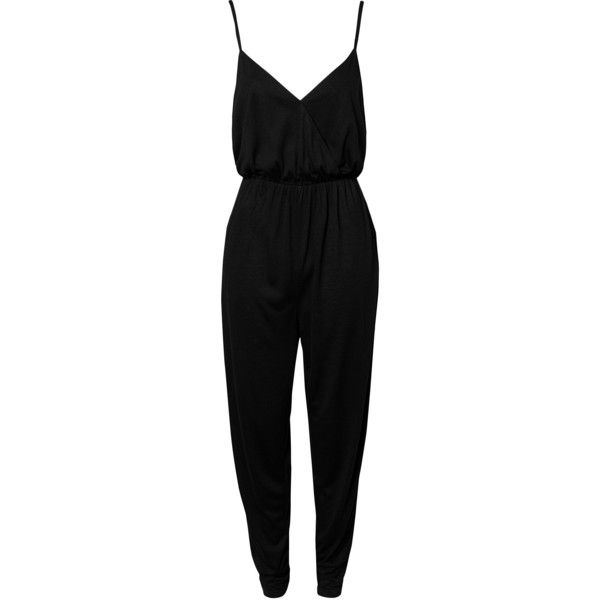 Nly Trend Jersey Maxi Playsuit (115 BRL) ❤ liked on Polyvore featuring jumpsuits, rompers, jumpsuit, dresses, playsuits, black, womens-fashion, v neck jersey, romper jumpsuit and nly trend